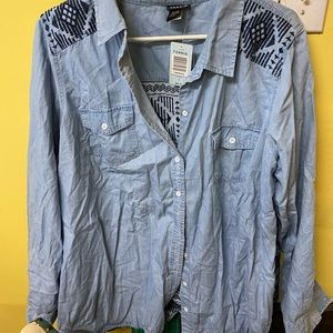New with tags, denim button up